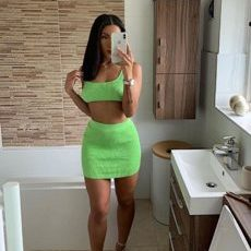 GREEN DRESS TWO PIECE