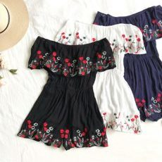 Floral Embroidery Playsuit