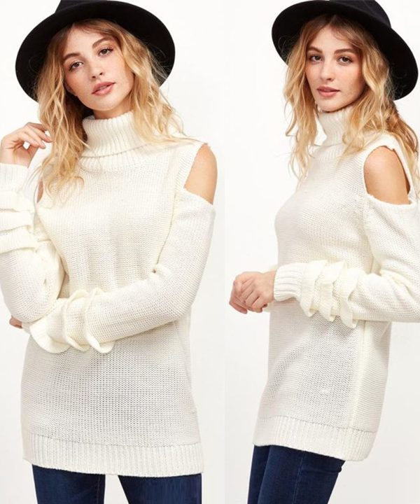 Sweet Turtleneck Off Shoulder Sweater