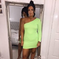 NEONGREEN ONE SHOULDER DRESS