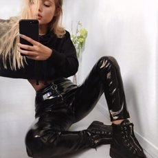 PU Leather Pencil Leggings