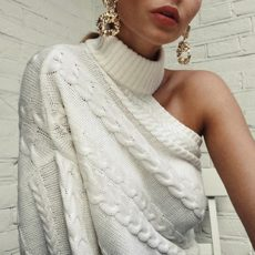 One Shoulder Sweater White